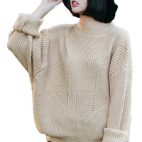 Ribbed Knit Long Sleeve Pullover Sweater