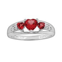 Sterling Silver Lab-Created Ruby & Diamond Accent Heart 3-Stone Ring (Red)