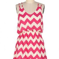 Summer Recreation Double Strap Chevron Print Dress in Fuchsia   Sincerely Sweet Boutique