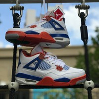Air Jordan 4 Retro White/Orange/Blue