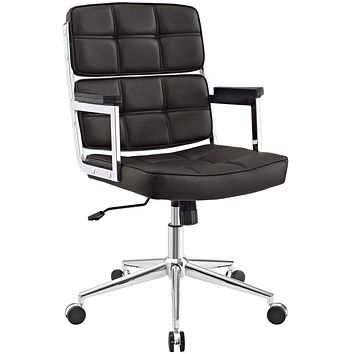 Portray Highback Upholstered Vinyl Office Chair In Brown