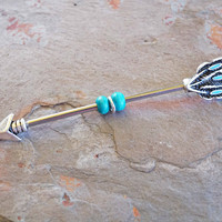 Turquoise Feather Industrial Barbell Scaffold Piercing