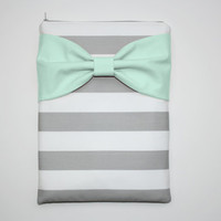 MacBook Pro / Air Case, Laptop Sleeve - Gray and White Stripes Mint Bow - Double Padded
