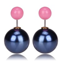 Gum Tee Mise en Style Tribal Earrings - Metallic Navy Blue & Jelly Baby Pink