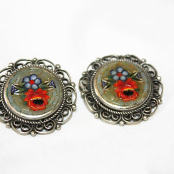 Vintage Micro Mosaic Earrings, Italy Micro Mosaic, Vintage 1950s Jewelry