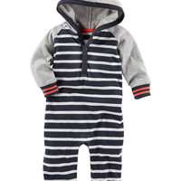 Hooded Colorblock Varsity Coveralls