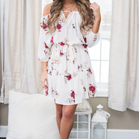 Beach Haven Off The Shoulder Floral Tie Waist Dress (Ivory)