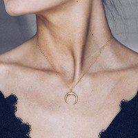 Moon Choker Necklace • Upside Down Moon Necklace • Dainty Gold Double Horn Necklace in 14k Gold Fill, Sterling or Rose Gold, LN131_aj