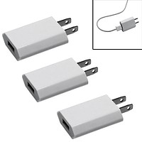 3-Pack Universal USB Power Wall Adapter for iPhone, Samsung Phones + other USB-enabled Devices