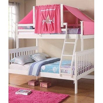 Liliana White Twin over Full Bunk Bed with Pink Tent