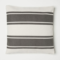 Striped Cushion Cover - Gray/natural white - Home All | H&M US