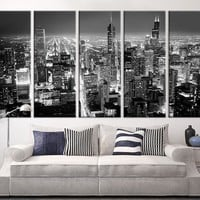 Extra Large Art - Chicago City Night Canvas Art Print, Large Wall Art Black White Chicago City Art, Large Skyline Chicago Wall Art Print
