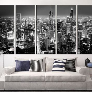 Extra Large Art Chicago City Night Canvas Art Print Large Wall Art Black White Chicago City Art