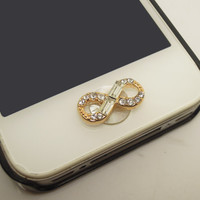 1PCBling Crystal  Alloy Infinity Jewel iPhone Home Button Sticker Charm for iPhone 4,4s,4g,5,5c Cell Phone Charm Gift for Him or Her