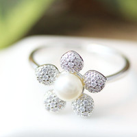 Floral Crystal Pearl Ring Adjustable Ring Jewelry Silver Plated Gift Idea