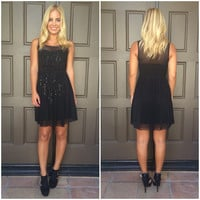 Sweet Glimmer Sequin And Bead Dress - BLACK