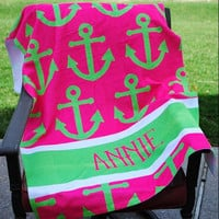 Hot Pink Anchor Beach Towel