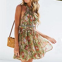 Printed sand beach dress female backless hollow lace chiffon skirt green