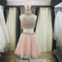 Two Pieces Homecoming Dress Short Prom Dresses pst1331