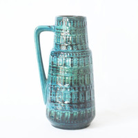 WEST GERMAN POTTERY Vase, Scheurich 416-26, 'Inka' Decor, Turquoise Blue Green, reminiscent of Bitossi Rimini Blu, German Mid Century Modern