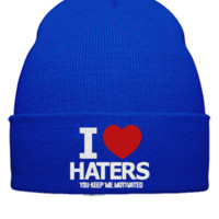 i love haters embroidery - Beanie Cuffed Knit Cap