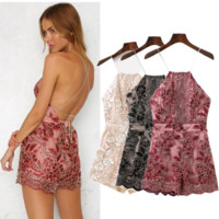 New Fashion Straps Embroider Lace Splicing Show Thin Backless Romper