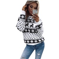 2018 Christmas Knitted Sweater Women Autumn Winter Thicken Pullover Tops Coat Long Sleeve Loose Ladies Warm Brief  Sweaters