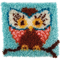 Wonderart Owl Hoot Hoot Latch Hook Rug Kit Kids Craft Kit 12 x 12 Square Made in the USA