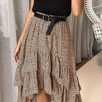 High Waist Flounce Beach Women Skirts Polka Dot Skirts Ruffles Asymmetrical Elegant Midi Skirt