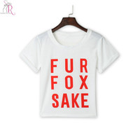 Women White Short Sleeve Letter Graphic Prints Loose Casual Jersey Crop Top Short Tee T shirt 2015 Summer Fashion
