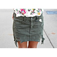 Olive Denim Skirt