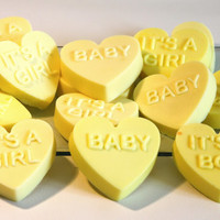 Set of 6 Soaps Baby Favors, Heart Soap Bars with Shea Butter, 1.5 oz. each Baby Girl / Baby Boy