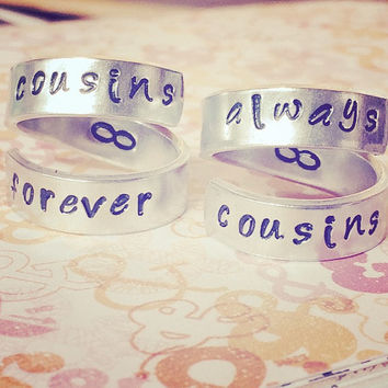 cousins forever/always cousins two aluminum swirl rings for  cousins, friends, sisters, mother,daughters