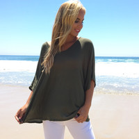 Trendsetter Jersey Tunic Top In Olive