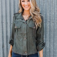 One Thing Right Lightweight Zip Up Jacket- Olive
