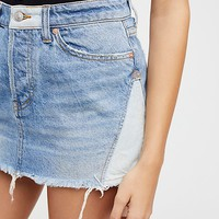Patched Denim Mini Skirt