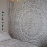 Gypsy Goddess Silver Platinum Mandala Tapestry with Gold Accents