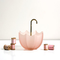 Vintage Pink Frosted Glass Umbrella Bowl