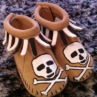 Custom Painted Skull and Crossbones Baby Moccasins