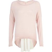 River Island Womens Pink woven back long sleeve top