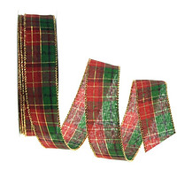Plaid Checkered Holiday Christmas Ribbon Wired Edge, 1-1/2-inch, 50-yard, Red/Green