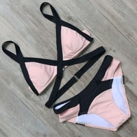 Pink Patchwork Swimwear Bathing Suits Push Up Bikini Set