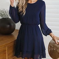 navy lace polka dot mini dress womeno neck long lantern sleeve party casual bodycon wrap dress