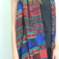 Pashmina Elephant Printed Pattern Scarf Soft Long Warm Scarves Wool Silk Stylish Shawn Beach Sarong Elegant Chic Wrap Tribal Boho Green