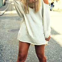 White Off Shoulder  Loose V-Neck Long Sleeve Sweater