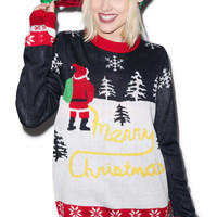 Tipsy Elves Yellow Snow Sweater Black/Red