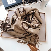 GUCCI scarf Double GG print pattern double-sided wool blend tassel scarf shawl