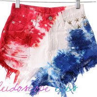 Vintage Levis 4TH OF JULY Studded American Flag Tie Dye Stars & Stripes Cut Off Shorts XS
