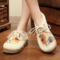 Vintage Embroidery Shoes Thailand Boho Cotton linen canvas cloth shoes national soft woven Round Toe flat with embroidered