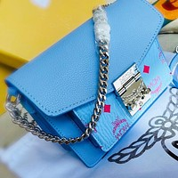 MCM Fashion New More Letter Print Leather Shopping Leisure Chain Shoulder Bag Crossbody Bag Blue